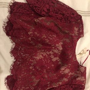 Red Lace Crop Top with Skirt